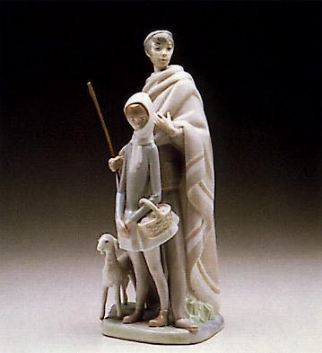 Shepherd W/ Girl And Lamb Lladro Figurine