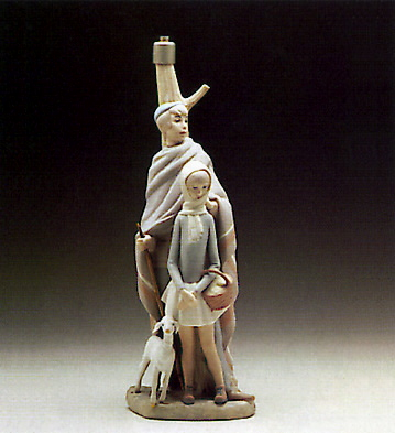 Shepherd W/ Girl (lamp) Lladro Figurine