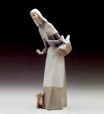 Shepherdess W/dog Lladro Figurine