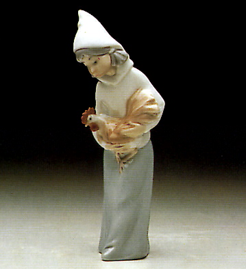 Shepherdess With Rooster Lladro Figurine