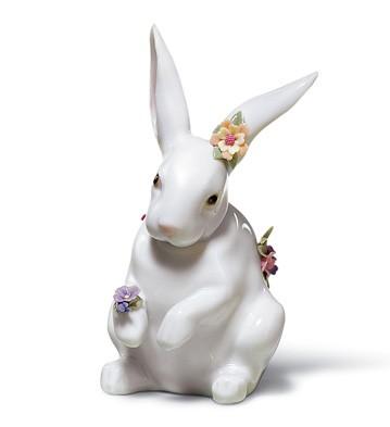 Sitting Bunny With Flowers Lladro Figurine