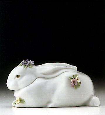 Sleeping Bunny With Flowe Lladro Figurine