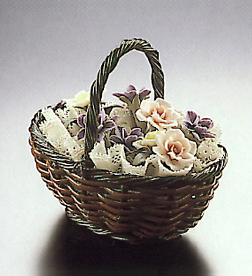 Sm.br.basket With Coloure Lladro Figurine