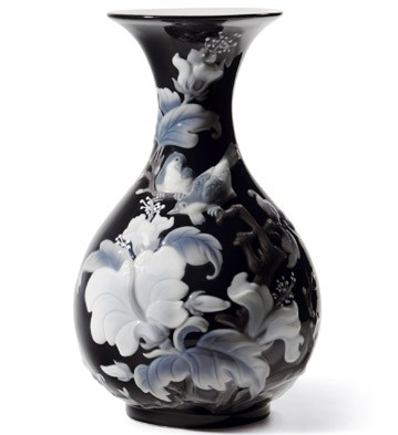 Sparrows Vase (black) Lladro Figurine