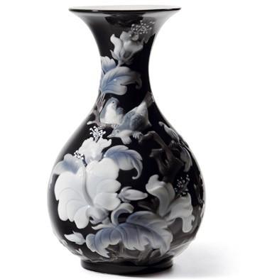 Sparrows Vase (black) Lladro Figurine