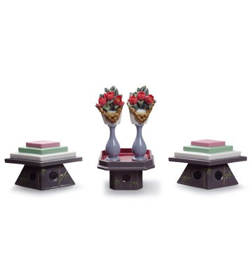 Tables For Sweets And Peach Flowers Lladro Figurine