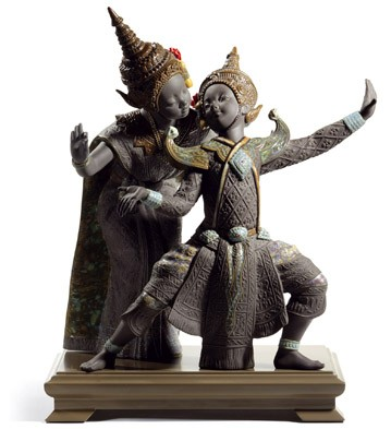 Thai Dancers (black) Lladro Figurine