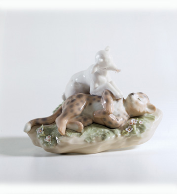 The Leopard Shall Lie Down With The Kid Lladro Figurine