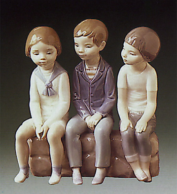 Three Boys Sitting Lladro Figurine