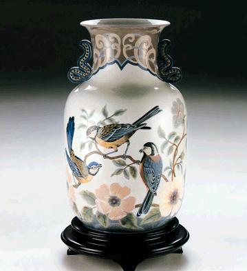 Tit Birds And Flowers Vase Lladro Figurine