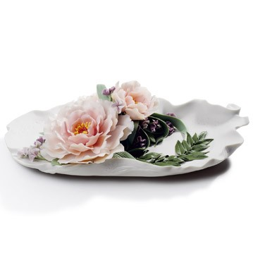 Tray With Peonies Lladro Figurine