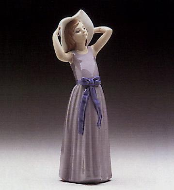 Trying On A Straw-hat Lladro Figurine