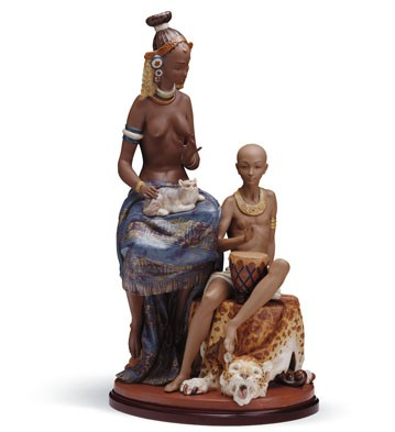 Watussi Queen And Boy Lladro Figurine