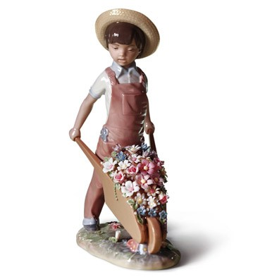 Wheelbarrow With Flowers Lladro Figurine