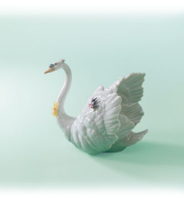 White Swan With Flowers Lladro Figurine