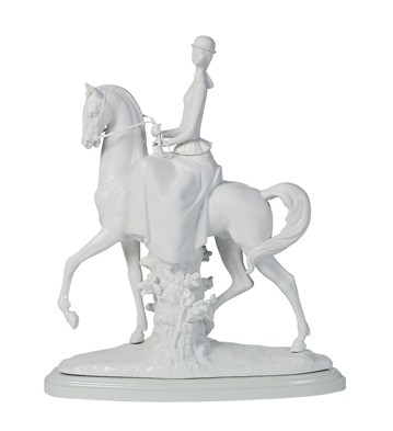 Woman On Horse - Glazed-matte (re-deco) Lladro Figurine