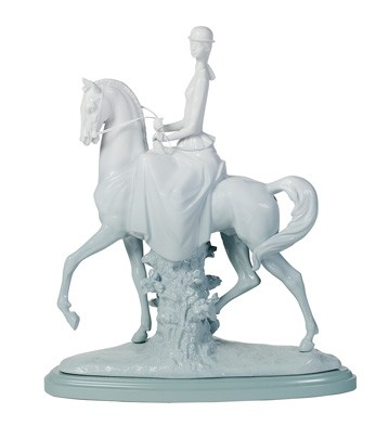 Woman On Horse - Green (re-deco) Lladro Figurine