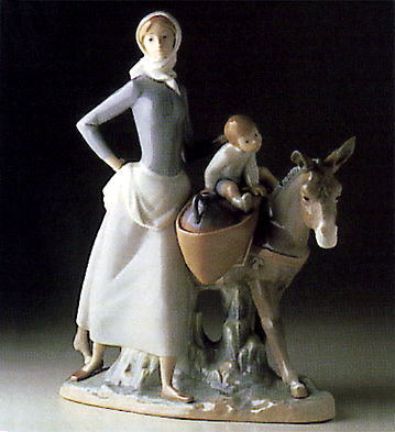 Woman W/girl And Donkey Lladro Figurine